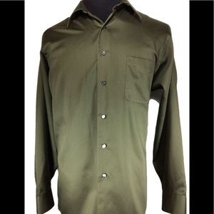Geoffrey Beene army green dress shirt 15.5-34/35